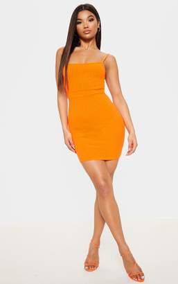 PrettyLittleThing Bright Orange Ribbed Strappy Back Bodycon Dress