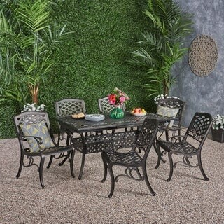 Christopher Knight Home Phoenix Outdoor 6-Seater Cast Aluminum Dining Set with Expandable Table