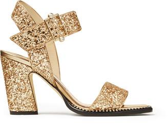 Jimmy Choo MINASE 85 Gold Metallic Block-Heel Sandals with Crystal Trim