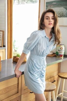 J.ING Chambray Ruched Mini Dress