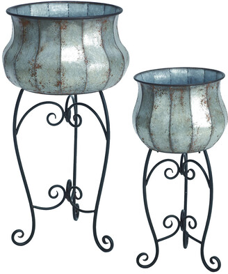 Transpac Set Of 2 Metal Silver Spring Traditional Planters With Stand