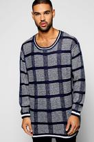 Boohoo Checked Knitted Longline Jumper
