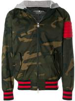 Hydrogen camouflage hooded bomber jacket