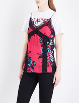 McQ Floral-print lace-trimmed satin camisole
