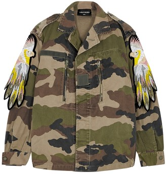 Ragyard Camouflage-print parrot-appliqued cotton jacket