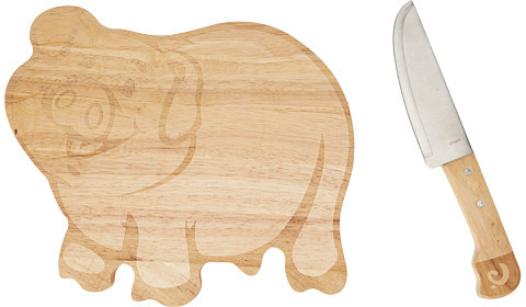 Picnic Time Piggy Cutting Board With Knife