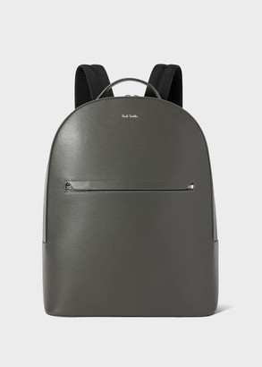 Paul Smith Men's Slate Grey Embossed Leather Backpack With 'Bright Stripe' Trims