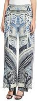 Camilla Double Layer Silk Flare Trousers, Blue Multicolor