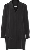 Equipment Leema Pussy-bow Washed-silk Dress - Black