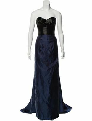 Naeem Khan Sequined Silk Gown blue