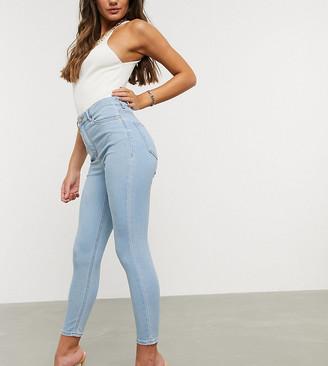 ASOS DESIGN Petite Ridley high waist skinny jeans in bright lightwash blue