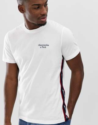 Abercrombie & Fitch logo tape sleeve t-shirt in white