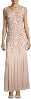 Aidan Mattox V-Neck Embellished Gown, Blush