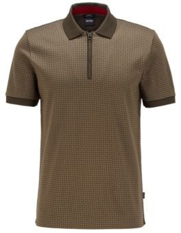 HUGO BOSS Slim Fit Polo Shirt In Houndstooth Cotton - Light Green