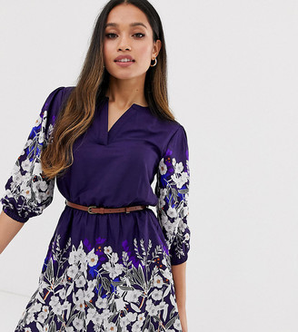 Yumi Petite belted dress with 3/4 sleeves in floral border print-Navy