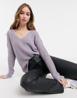 JDY V-neck jumper in purple