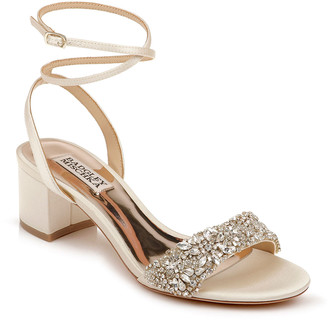 Badgley Mischka Jada Low-Heel Satin Sandals