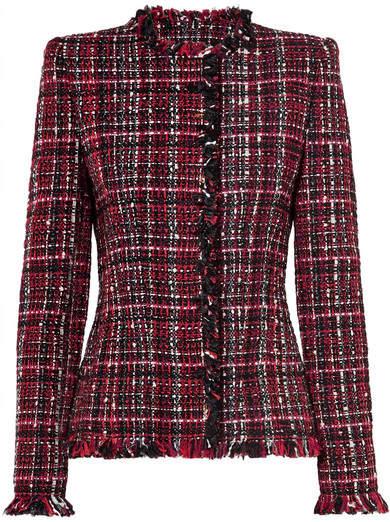 Alexander McQueen Frayed Tweed Blazer - Black