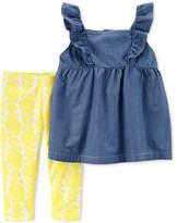 Carter's 2-Pc. Chambray Ruffle Tunic & Leggings Set, Baby Girls