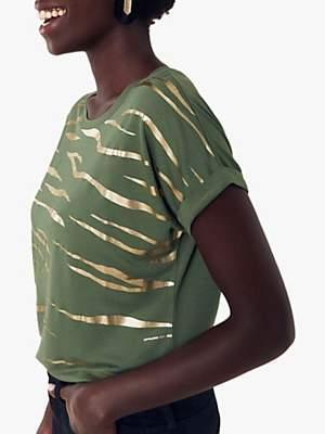 Oasis Foil Tiger Print T-Shirt, Khaki
