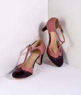 Mauve Pink & Burgundy Gatsby T-Strap Pumps Shoes