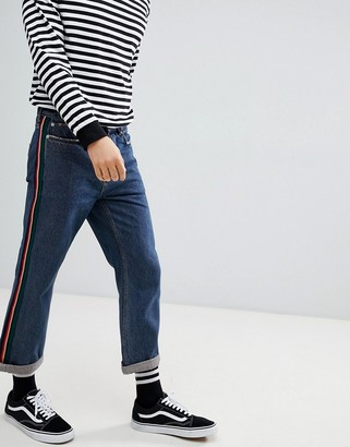 Mennace Straight Cropped Jeans With Side Tape