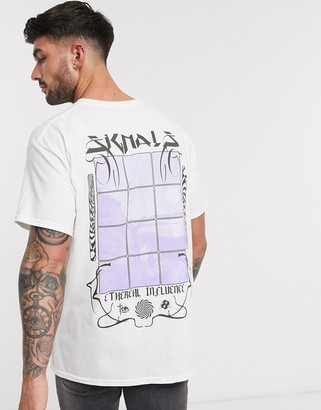 New Look influence back print t-shirt in white