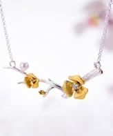 Lotus Fun Women's Necklaces Silver - Zircon & Sterling Silver Cherry Blossom Necklace