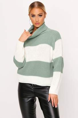 I SAW IT FIRST Sage Thick Stripe Knitted Roll Neck Jumper