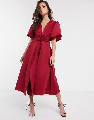 ASOS DESIGN bubble sleeve twist detail midi prom dress in deep red
