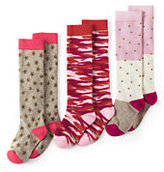 Classic Girls Pattern Knee High Socks (3-pack)-Pink/Coral Multi