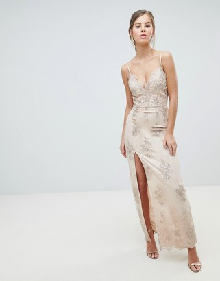Chi Chi London Scalloped Plunge Maxi Prom Dress with Gold Embroidery