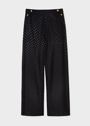 Paul Smith Women's Black Polka Dot Jacquard Wide Leg Trousers