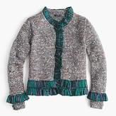 J.Crew Collection sweater lady jacket with tartan trim