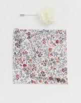Gianni Feraud Liberty print mina cotton pocket square & lapel pin set