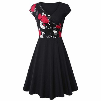 IWEMEK Women's Cross V-Neck A-line Floral Patchwork Party Knee Length Dress Summer Casual Flare and Fit Prom Gown Cocktail Wedding Evening Party Formal Midi Swing Dresses Black and Red Flower S