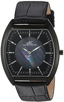 Adee Kaye Men's Quartz Stainless Steel and Leather Casual Watch, Color:Black (Model: AK2200-MIPB)