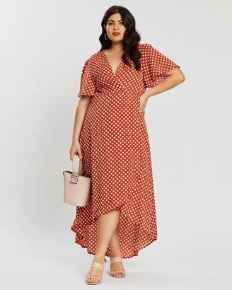 Missguided Curve Polka Dot High-Low Wrap Midi Dress