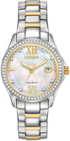 Citizen Eco-Drive Women's Silhouette Crystal Jewelry Two-Tone Stainless Steel Bracelet Watch 30mm FE1144-85D, A Macy's Exclusive