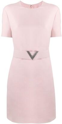 Valentino crepe V pave belted dress