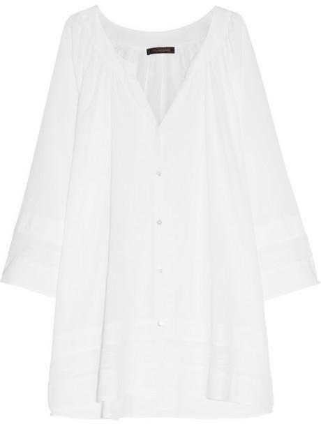Donna Karan Sleepwear Pintucked cotton-batiste nightshirt