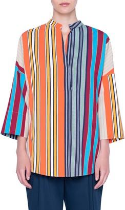 Akris Punto Parasol Stripe Bell Sleeve Shirt