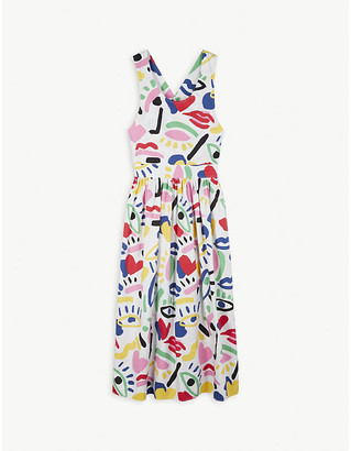Stella McCartney Graphic face print cotton midi dress 4-16 years