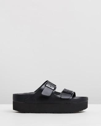 Birkenstock Women's Black Sandals - Womens Arizona Papillio Natural Leather Narrow Platform Sandals - Size 37 at The Iconic