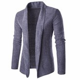 Qiyun Men's Solid Color Thick Shawl Collar Warm Cardigan Knitted Sweater