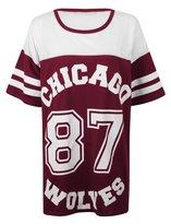 Forever Women's Chicago 87 Wolves Print Fishnet Oversize Baggy Top