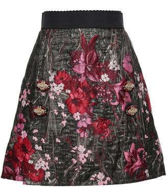 Dolce & Gabbana Button-embellished Brocade Mini Skirt
