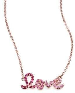 Sydney Evan Love Ombre Ruby, Multicolor Sapphire& 14K Rose Gold Pendant Necklace