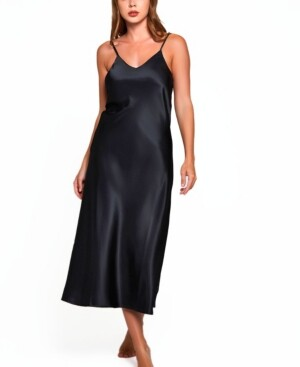iCollection Women's Luxury Long Gown with Deep V Back