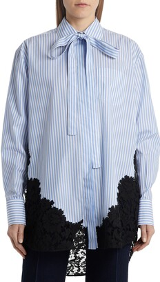 Valentino Tie Neck Stripe Poplin & Lace Shirt